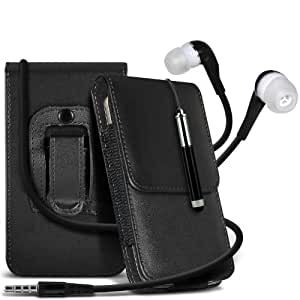 Samsung Galaxy Ace 2 I8160 protección pu estuche de cuero de la correa de la pistolera del tirón del sostenedor de la cubierta del caso, Retractable Stylus Pen & Coincidencia 3.5MM auriculares auriculares auriculares Negro por Spyrox
