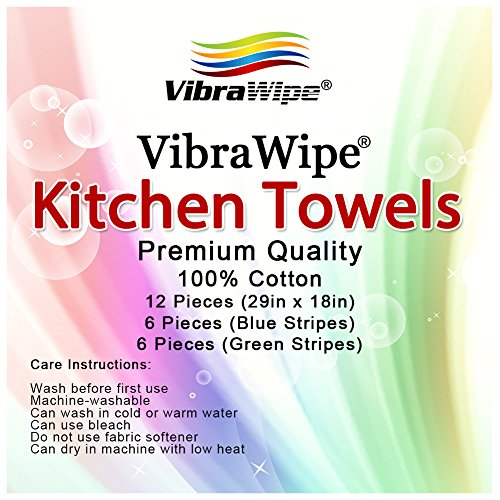 Vibrawipe Kitchen Dish Towels 12 Pieces 29in X 18in