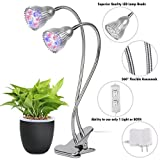 Amats Premium Dual Head LED Grow Light 10W LED Grow Lamp W 360 Adjustable Gooseneck LED Grow Lights for Indoor Plants, Plant Growing, Hydroponic Garden, Greenhouses, Gardening, Office (Silver 14W)