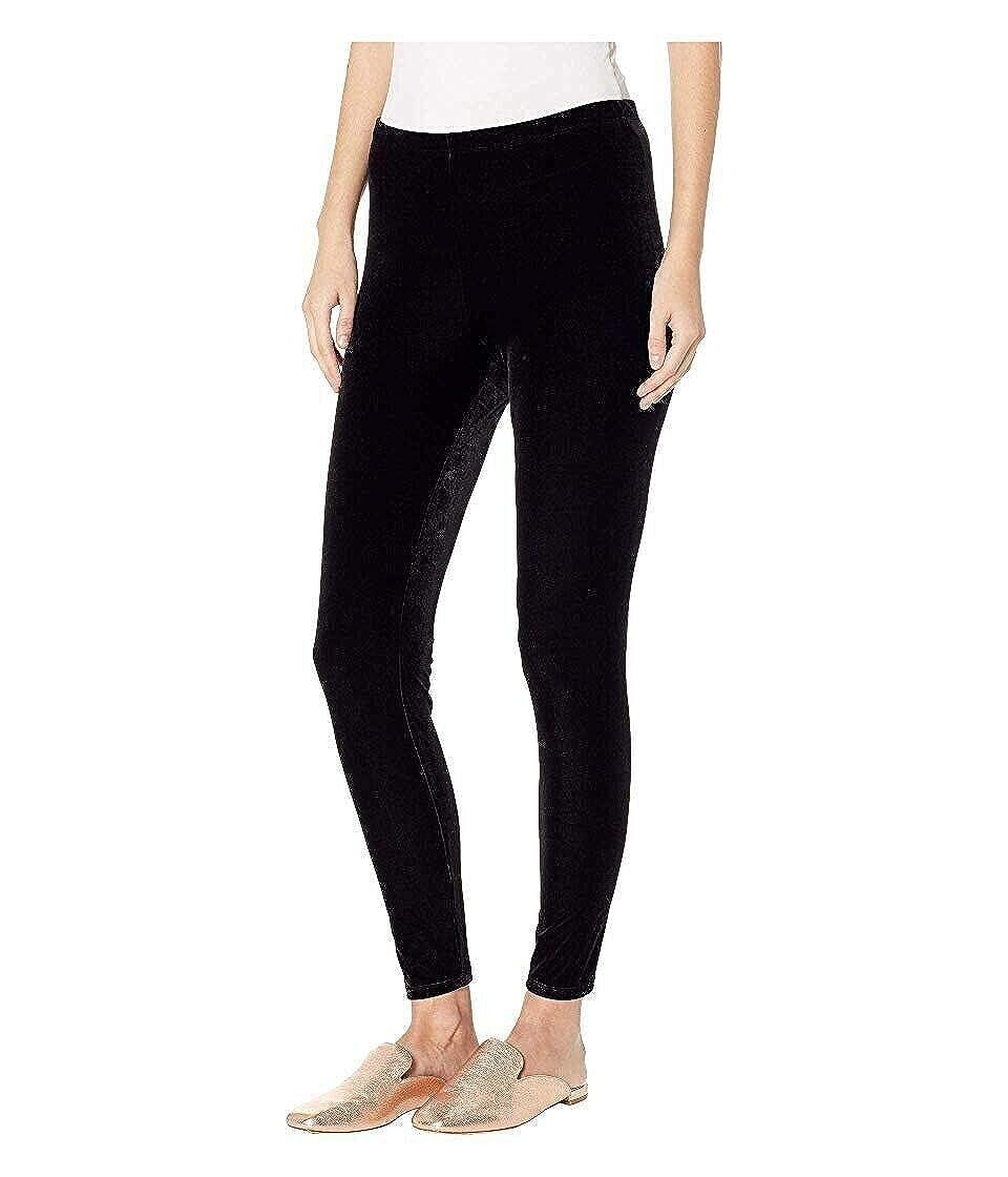 Eileen Fisher Black Stretchy Velvet Ankle Leggings Size L MSRP $138