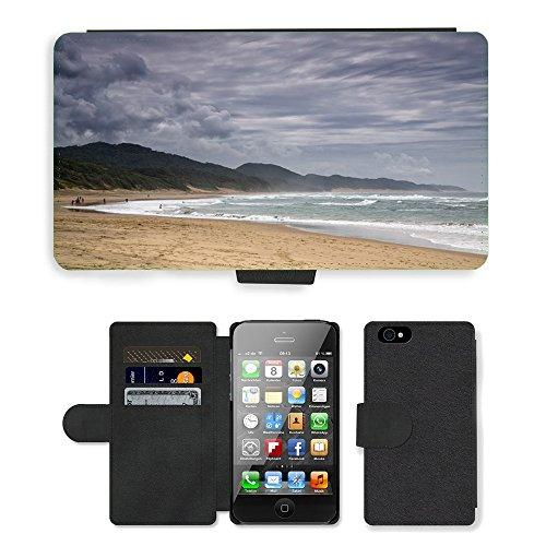 PU Leather Cover Custodia per // M00421629 Plage Côte Shore eau de mer de l'océan // Apple iPhone 4 4S 4G