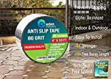EdenHomes Heavy Duty Anti Slip Traction Tape, 4 Inch x 33 Foot Grip Tape Grit Non Slip, Outdoor Best Non Skid Stair Treads, High Traction Friction Abrasive Adhesive for Stairs Step - Black