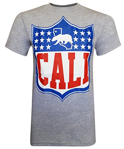 California Republic Cali Shield Men's T-Shirt - (Heather Grey) - 2XL