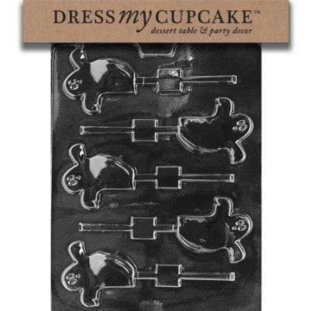 Dress My Cupcake DMCH064 Chocolate Candy Mold, Spooky Ghost Lollipop, Halloween -