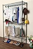Homdox 3 Shelves Wire Shelving Clothing Rolling Rack Heavy Duty Commercial Grade Garment Rack with Wheels and Side Hooks (One Pair Hook and Two Hanging Rods Gray)