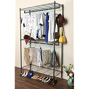 Homdox 3 Shelves Wire Shelving Clothing Rolling Rack Heavy Duty Commercial Grade Garment With Wheels