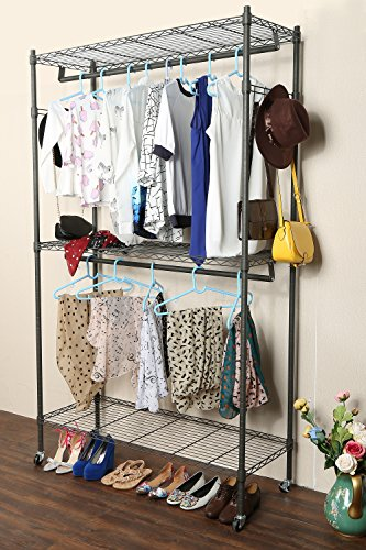 Homdox 3 Shelves Wire Shelving Clothing Rolling Rack Heavy Duty Commercial Grade Garment Rack with Wheels and Side Hooks (One Pair Hook and Two Hanging Rods ()