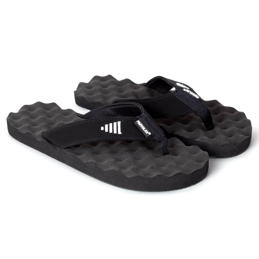 PR Soles Recovery Flip Flops | Sandals for Men and Women | Great for Athletes | Black,MD | (W) 9.5-10 | (M) 7.5-8.5