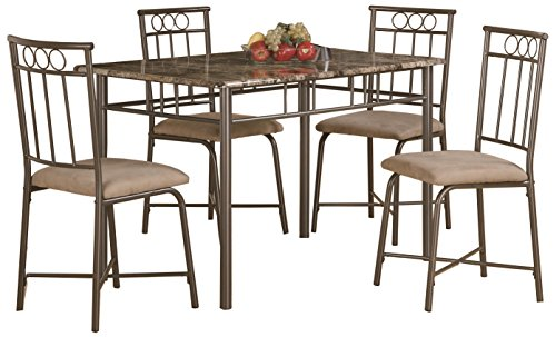 Marble Top Dining Room Sets (Coaster Home Furnishings Casual Dining Room 5 Piece Set, Black/Tan)