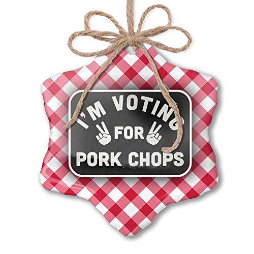 NEONBLOND Christmas Ornament I'm Voting for Pork Chops Funny Saying Red Plaid
