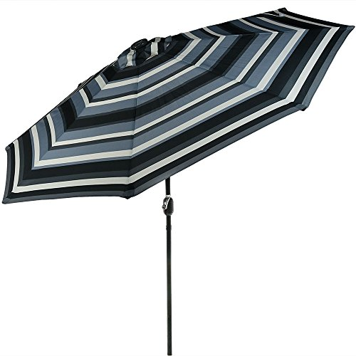 Sunnydaze 9 Foot Outdoor Patio Umbrella with Solar Lights & Tilt/Crank, LED, Catalina Beach Stripe