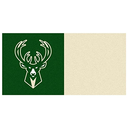 FANMATS NBA Milwaukee Bucks Nylon Face Team Carpet Tiles by Fanmats