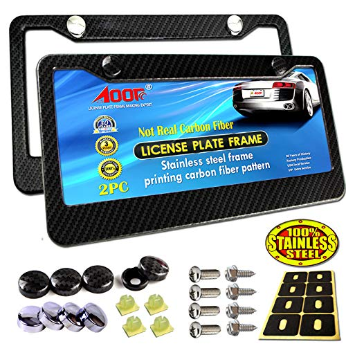 (Aootf License Plate Frame Carbon Fiber - 2Pc Black Stainless Steel Plate Frames Printed Carbon Pattern with Stainless Steel Plate Screws and Black Carbon & Chrome Caps)
