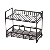 YChoice Rack Decor Double Wrought Iron Storage Rack Kitchen Floor Rack countertop Spice Rack Bathroom toiletries Storage Rack (Color : Coffee)