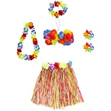 6 Pieces Girl's Hawaiian Hula Skirt fedio Grass Skirt set with Hawaiian Luau Party leis and Bra for Children Ages 3-8