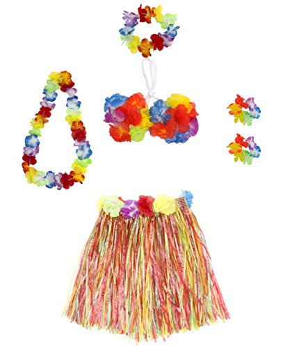 6 Pieces Girl's Hawaiian Hula Skirt fedio Grass Skirt set with Hawaiian Luau Party leis and Bra for Children Ages 3-8 (Multicolor)