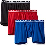 Hugo Boss BOSS Men's Cotton Stretch Boxer Brief, Pack of 3, New Red/Blue/Black, Small