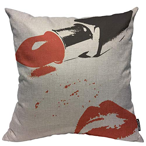(Mugod Hot Sexy Lip Decoration Throw Pillow Cushion Covers Cosmetic Red Lipstick and Lips Kiss Lover Romantic Valentines Print Funny Pillows Home Decor Couch Pillow Case 18 X 18 Inch)
