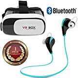 Elevea Bluetooth Sports Headphones with Mic and Virtual Reality Glasses 3D VR Box Headsets for 4.7-6-inch Mobile Phones (Assorted)