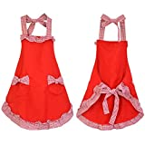 Rbenxia Women's Apron with Pockets Adjustable Bib Apron with Pockets Extra Long Ties Women Kitchen Apron for Cooking, Crafting, Gardening, Kitchen Women's Cake Apron With Pocket Red