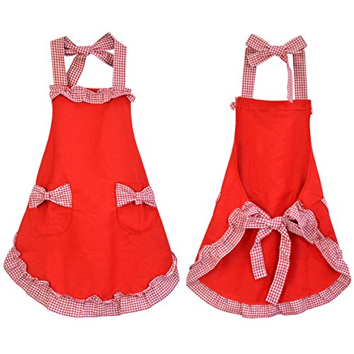Rbenxia Cotton Grid Working Chefs Kitchen Cooking Cook Flirty Bib Apron with Bowknots Pockets Red