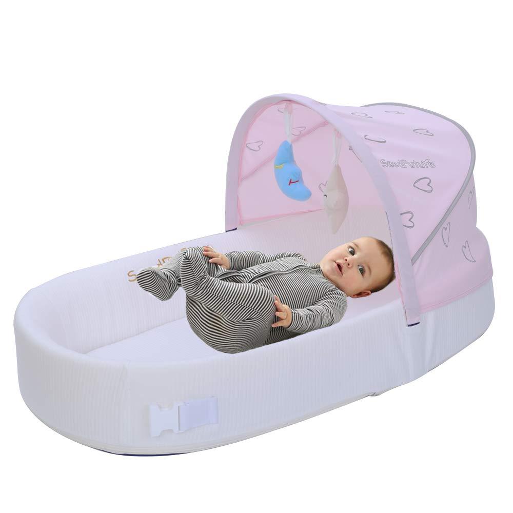 Newborn Baby Travel Portable Sleep Baby Recliner Sleeping Bag Crib (Pink, Upgraded Version) by SeedFuture