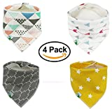 Image of Baby Bandana Drool Bibs, Unisex 4 Pack Cute Bibs with Snaps - Best for Babies Drooling, Teething and Feeding - Soft, Absorbent & Hypoallergenic - Perfect Baby Shower Gift for Boys & Girls by BabyDew