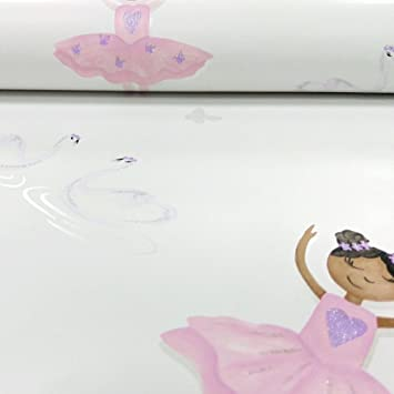 Holden Decor Make Believe Ballerina Cream Pink Wallpaper 12461 Kids Childrens