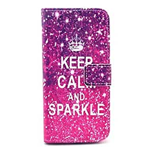 Keep Calm And Sparkle Words Shining Pattern PU Leather Full Body Case for iPhone 6