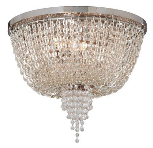 Lighting Bronze Corbett (Corbett Lighting 141-32 Vixen Two Light Flush Mount, Polished Nickel Finish with Clear Crystal)