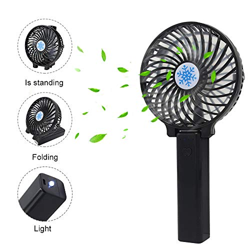 Mini Handheld Fan Personal Portable Fan Rechargeable Battery Operated Fan Foldable Mini Fan with LED Lamp, 3 Speed Strong Airflow for Home, Travel, Outdoor and Office (Black)