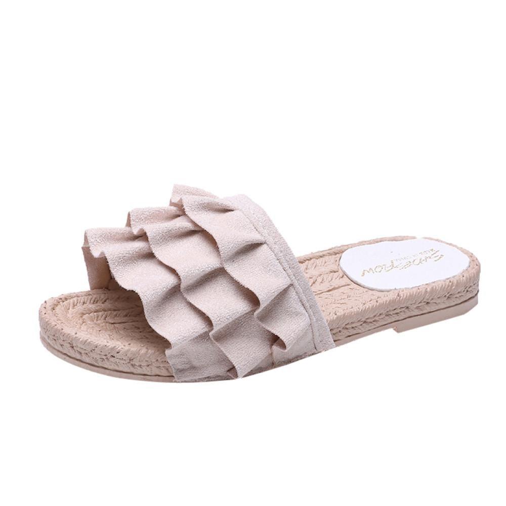 hausschuhe damen pantolette, FEITONG Sommer Slip-on Hausschuhe Komfort Sandaletten Spitze Zehentrenner Hausschuhe Pantoletten Einfarbig StrandschuheCN:37|Beige