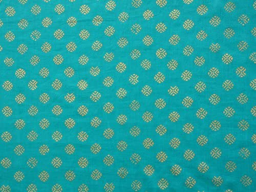 Saffron Marigold Jeweled Peacock Turquoise Blue and Gold Sari Beaded Valance 44×17