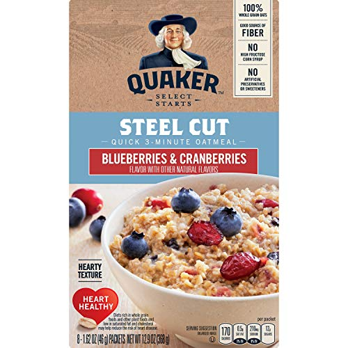 (Quaker Steel Cut Oats, Quick 3-minute Oatmeal, Cranberries and Blueberries, Breakfast Cereal, 8 Packets Per Box)