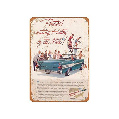 Fhdang Decor Vintage Pattern 1957 Pontiac Convertible Vintage Look Aluminum Sign Metal Sign,6x9 Inches ()