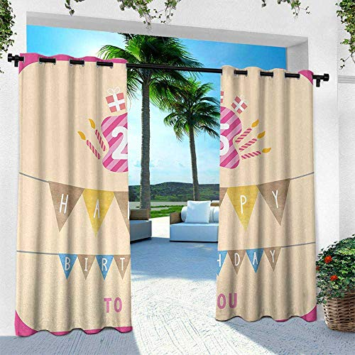 Hengshu 25th Birthday, Outdoor Blackout Curtains,Pink Framework Cute Flags Letters Burning Candlesticks Gifts Colorful Print, W108 x L108 Inch, Multicolor