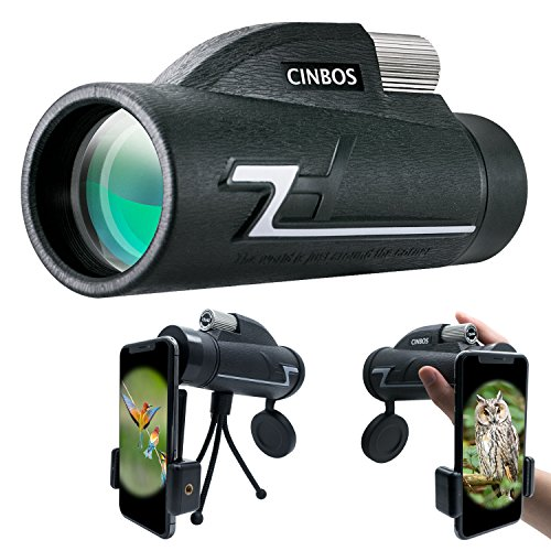 12x42 Monocular Telescope, Cinbos High Powered Monocular Scope with Phone Adapter and Tripod, Waterproof Fogproof Optics FMC BAK4 Prisms, Single Hand Focus for Outdoors Like Bird Watching etc. (12X42) by CINBOS
