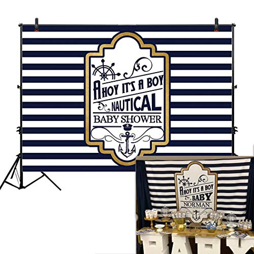 Allenjoy 7x5ft Ahoy It's A Boy Backdrop Nautical Theme Baby Shower Banner for Baby Boy Party Decorations Newborn Baby 1st Birthday Celebration Pregnancy Announcement Backgrounds Photography Booth (Stripes Graduation Announcements)