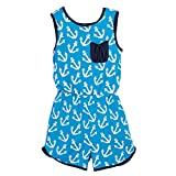 Beachcombers Girl's Tops Rayon/Spandex Anchor Romper Blue/White Large