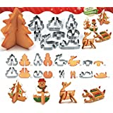 Christmas Cake Cookie Cutters Set 3D Mini Biscuit Tool Baking Molds Scenario Favorite Holiday Shapes Stainless Steel Including Snowman, Christmas Tree, Christmas elk and Sledge - 8pcs
