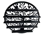FixtureDisplays Wall Mounted 5 Tier Nail Polish Rack Holder, Tree Silhouette Round Metal Salon Wall Art Display, Black 16785-NPF