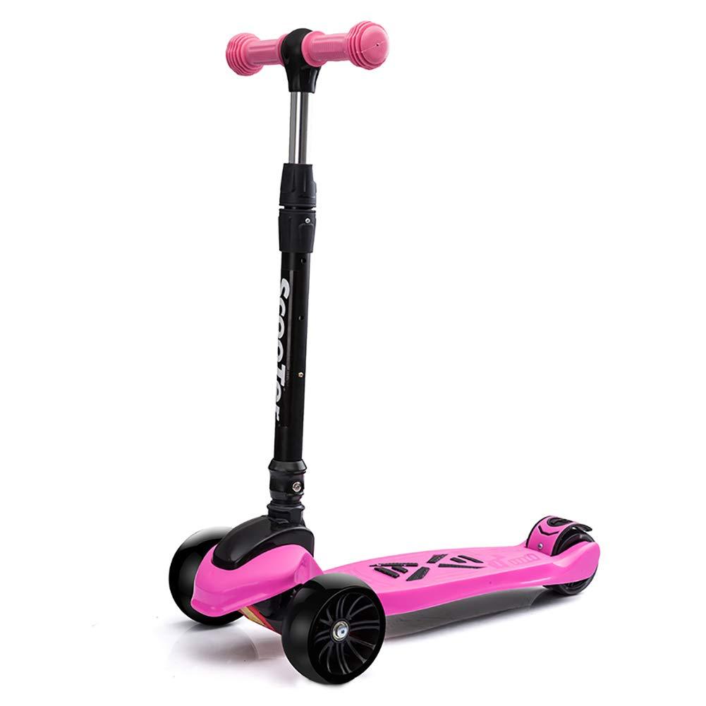 スクーター 子供用スクーターワイドペダルフラッシュホイールハンドルバー調整可能なTバー三輪車サーフェス安全バランス技術 B07M86HN18