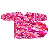 Long Sleeve Art Smock, Good Coverage, Breathable, Adjustable in Size (M: Preschool 3-5 Years, Pink Shark)