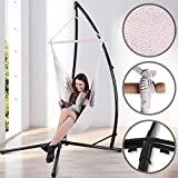 Hanging Chair with Stand | 210 cm High Steel Stand with Fabric Hammock, Supports Max. 120 kg | Suspended Rocking Chair with Support, Hanging Rope Swing, Relax Patio Porch Grden Furniture