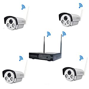 KOEISHA Wifi/ Wireless ,Security CCTV System ,Outdoor/ Indoor, 720P WIFI CCTV 4CH 1.0MP Wireless NVR , Waterproof IP Camera, IR-CUT Night Vision,NO HD, Home Security Surveillance Kits