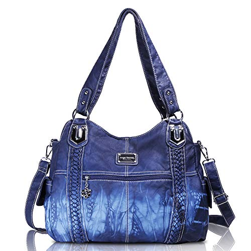 Angelbarcelo Girls Large Handbags Female Hobo Corss Shoulder Bags Tote PU Washed Leather Handbags 2 Top Zippers Closure Fashion Large Capacity Bags (0044 Blue)