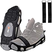FUSIGO Ice Cleats for Shoes and Boots, 24 Studs Walk Traction Ice and Snow Traction Cleats Anti Slip Stretch F