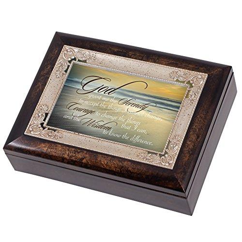 Serenity Prayer Ocean Waves Italian Design Jewelry Music Box Plays Amazing Grace