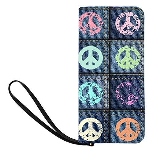 InterestPrint Grunge Blue Patchwork with Peace Sign Womens Clutch Wallet Large Wristlet Zipper Clutch Large Travel Purse