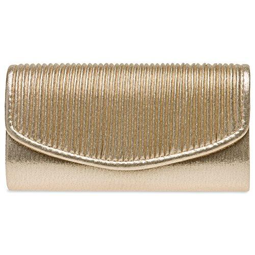 CASPAR TA399 kleine elegante Damen Glanz Clutch Tasche Abendtasche mit gefafftem Überschlag Gold
